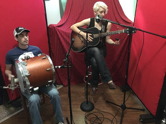 Here I am with Duane Borba recording for the holiday album at Firebreath Records.