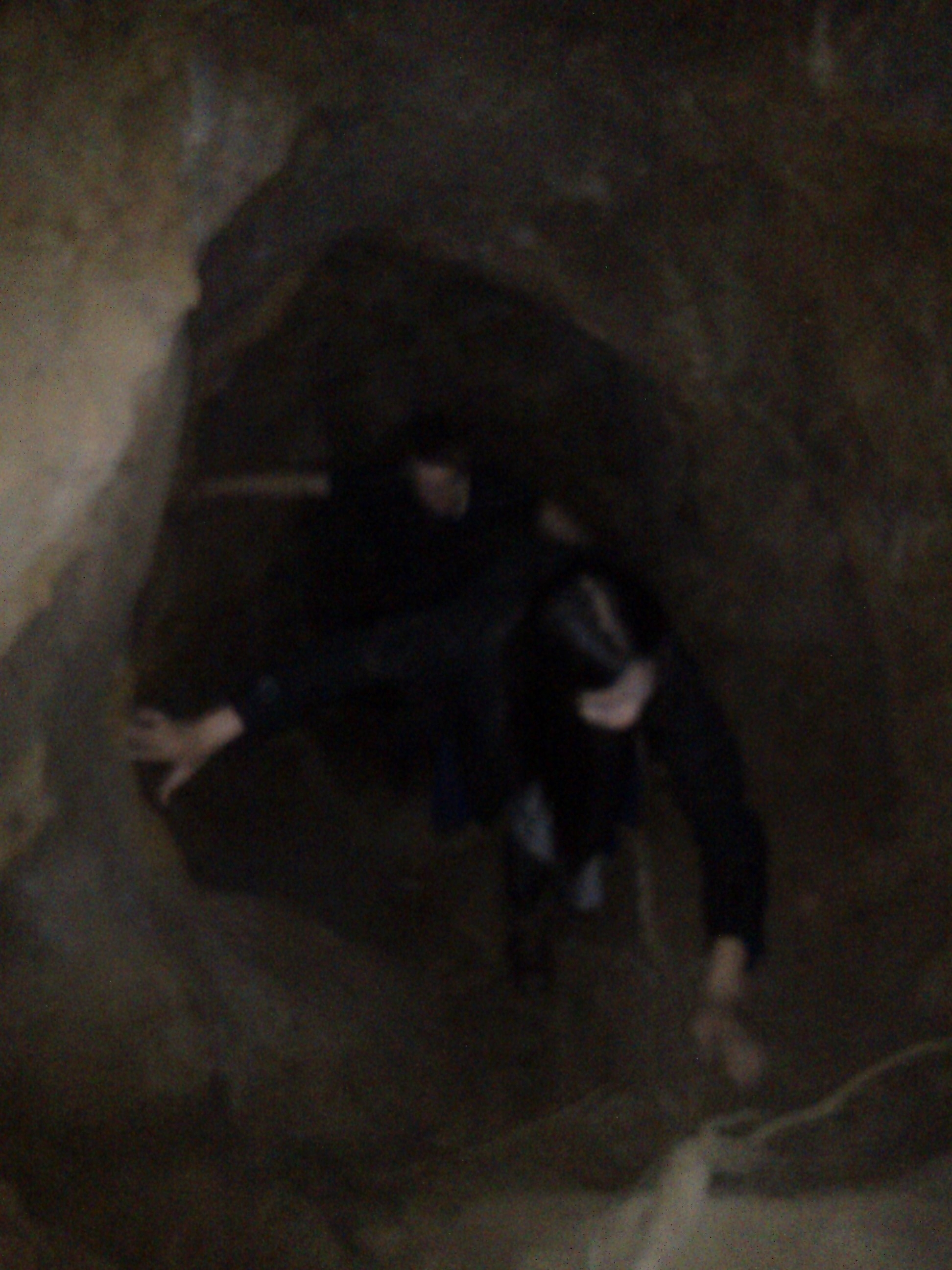 Climbing up the tunnel. Apologies for the bad picture. There was no light and I was using an old phone camera.
