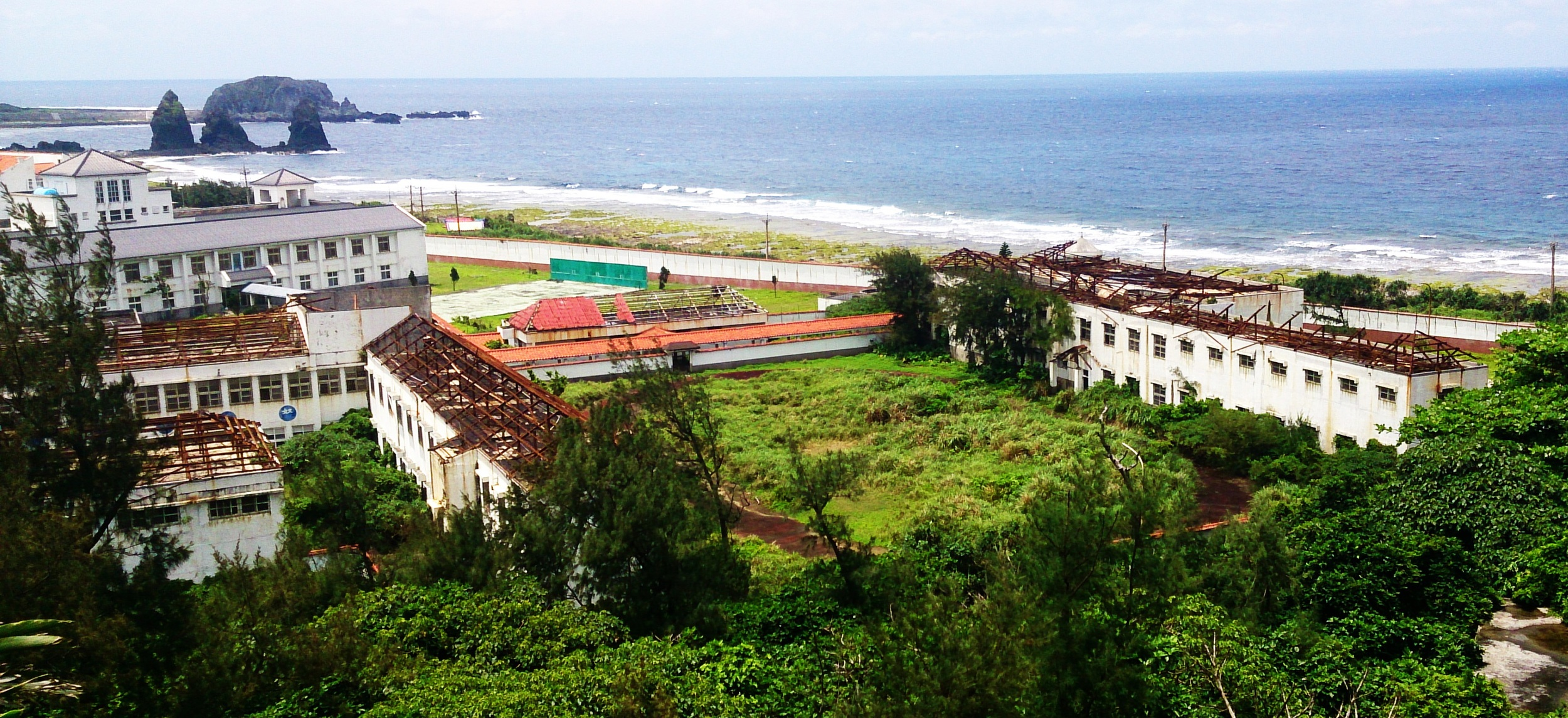 The abandoned vocation center and the ruined hotel.