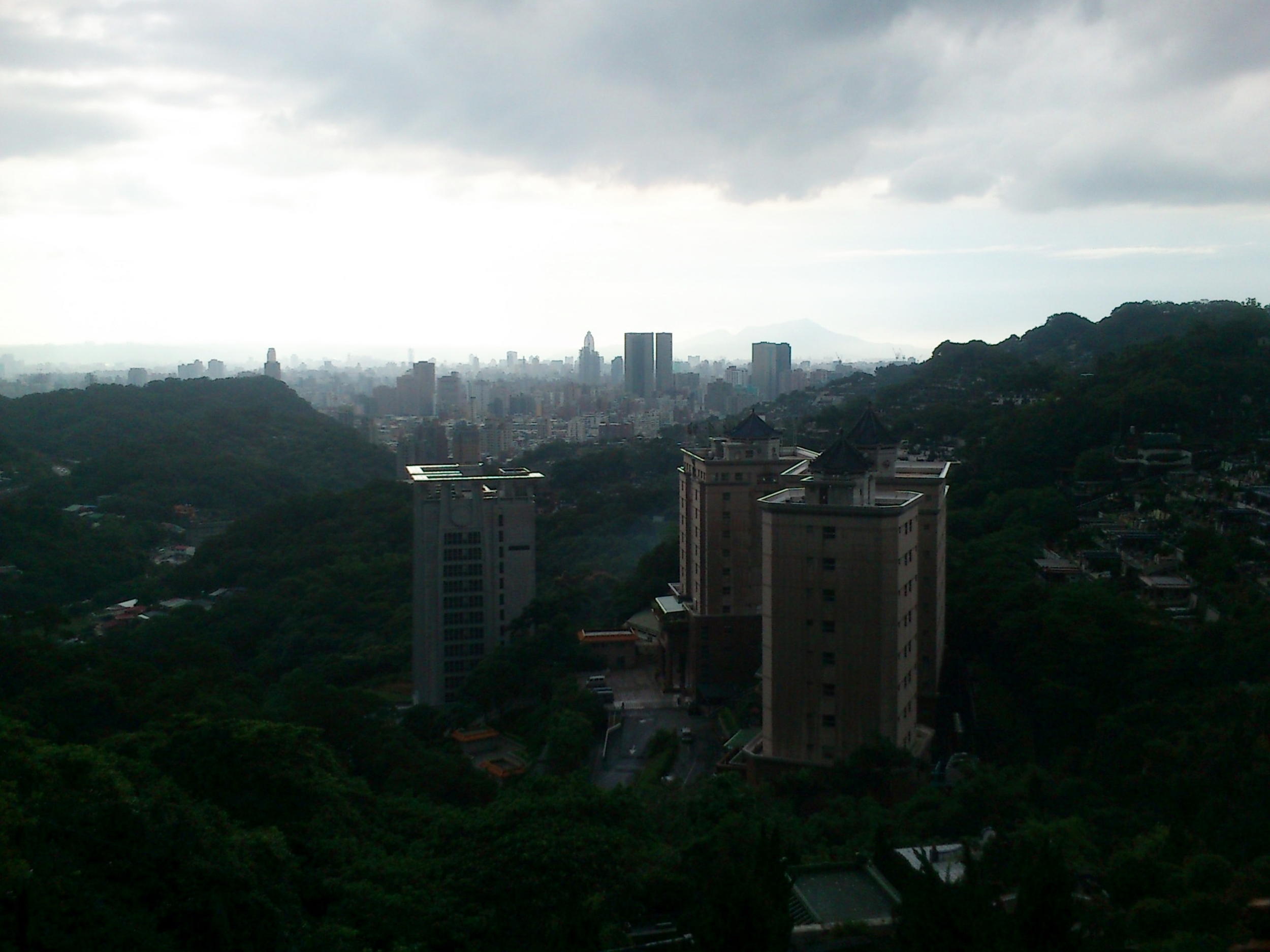 Looking back towards Taipei on a wet day.