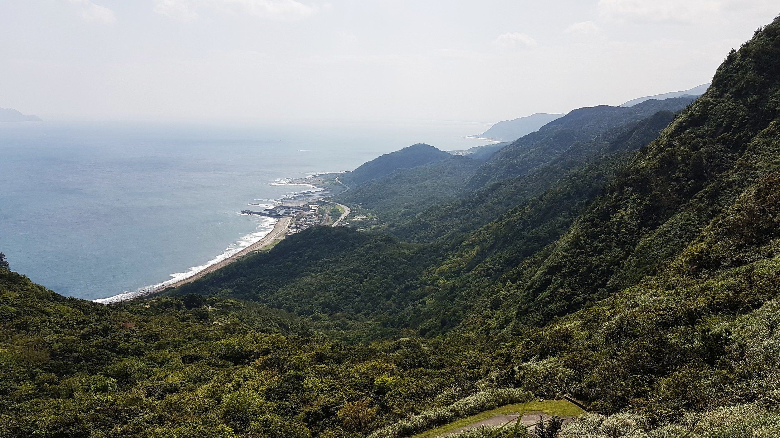 The Yilan Coast from the Caoling Historic Trail. Mt Caoling is on the right.