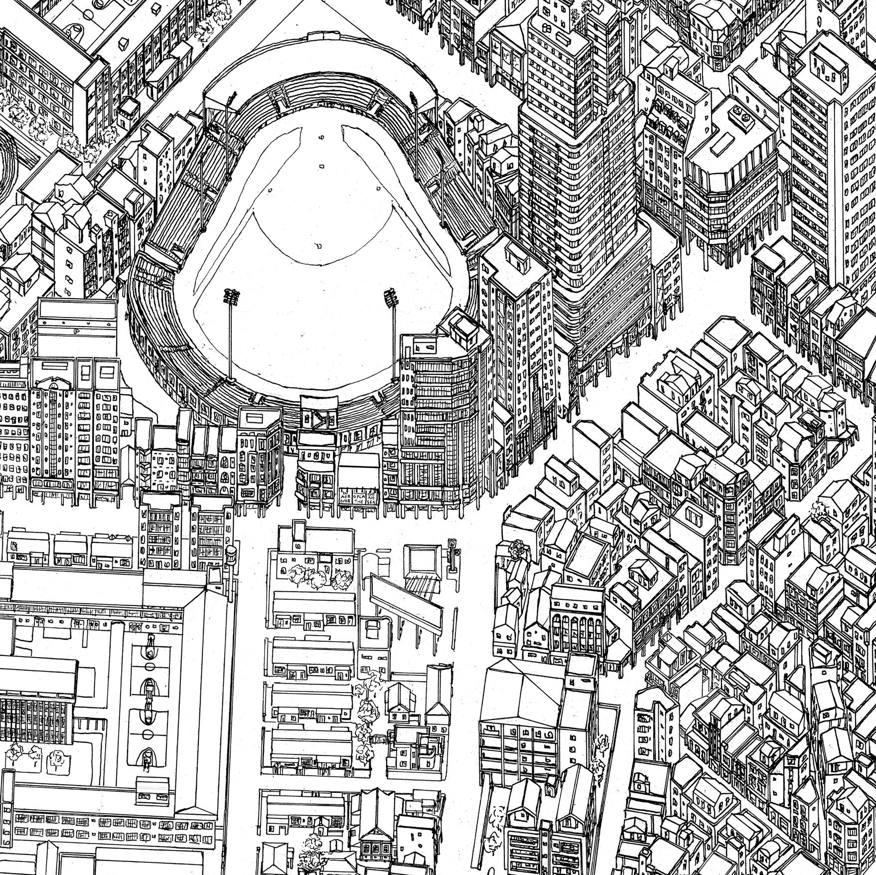 Baseball stadium and prison area
