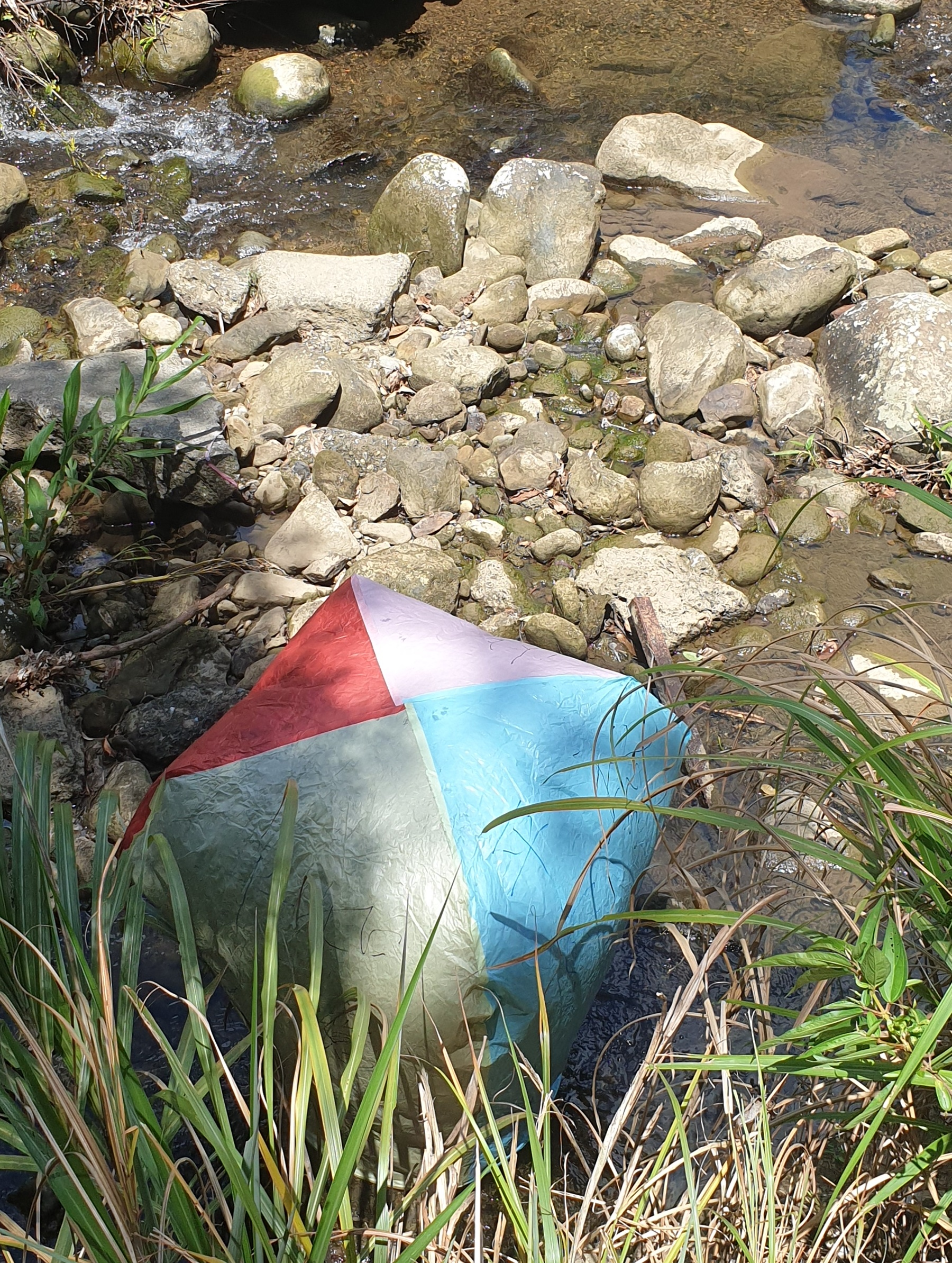 This lantern has ended up in a river!