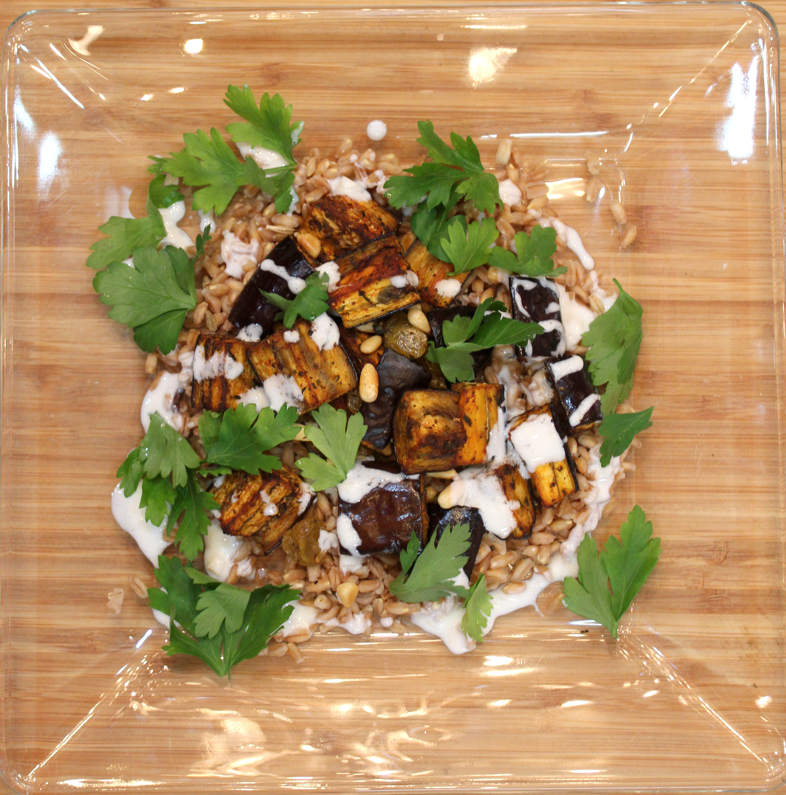 Roasted eggplant with toasted barley and yogurt sauce