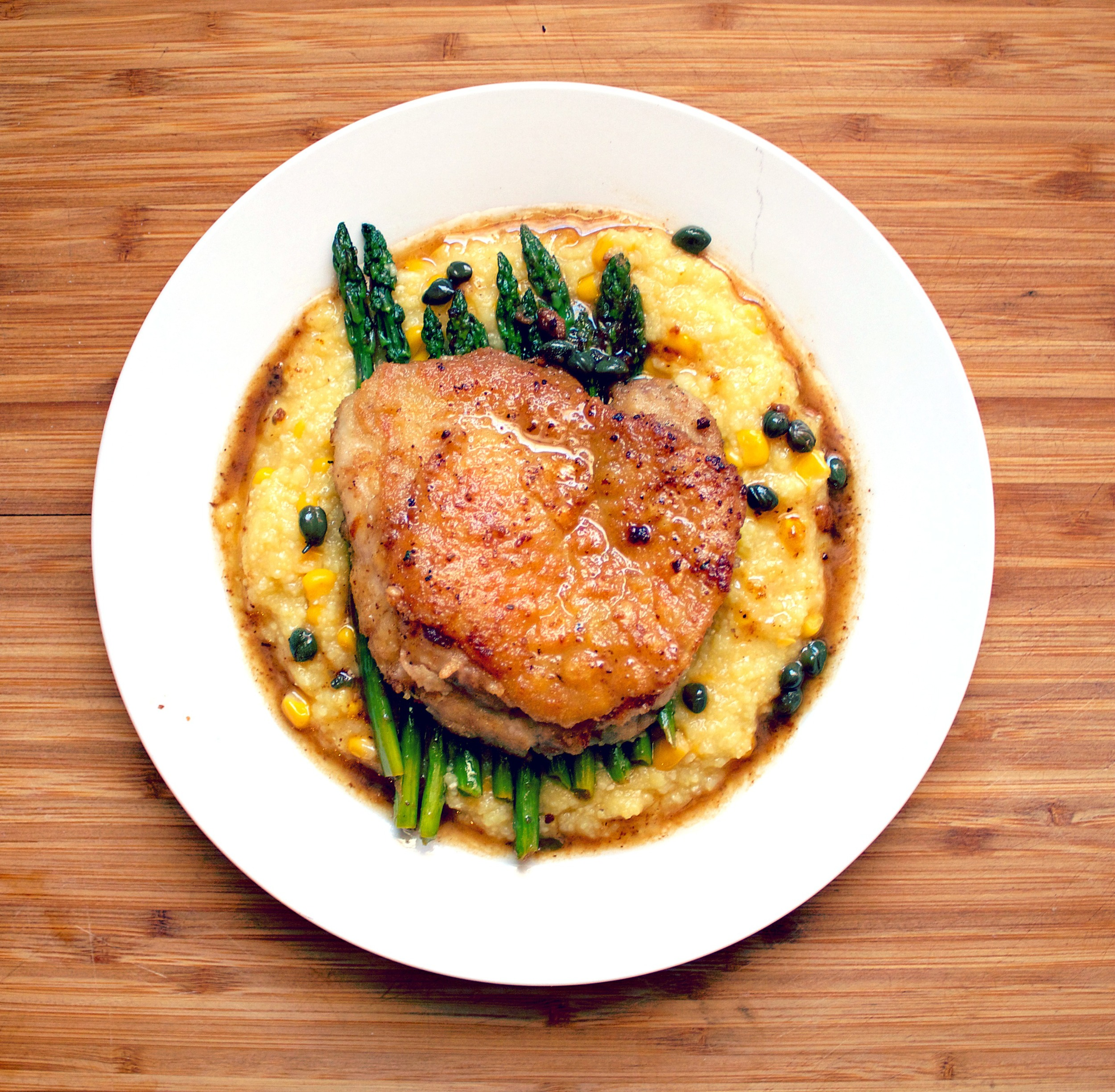 Chicken Piccata with Corn Polenta