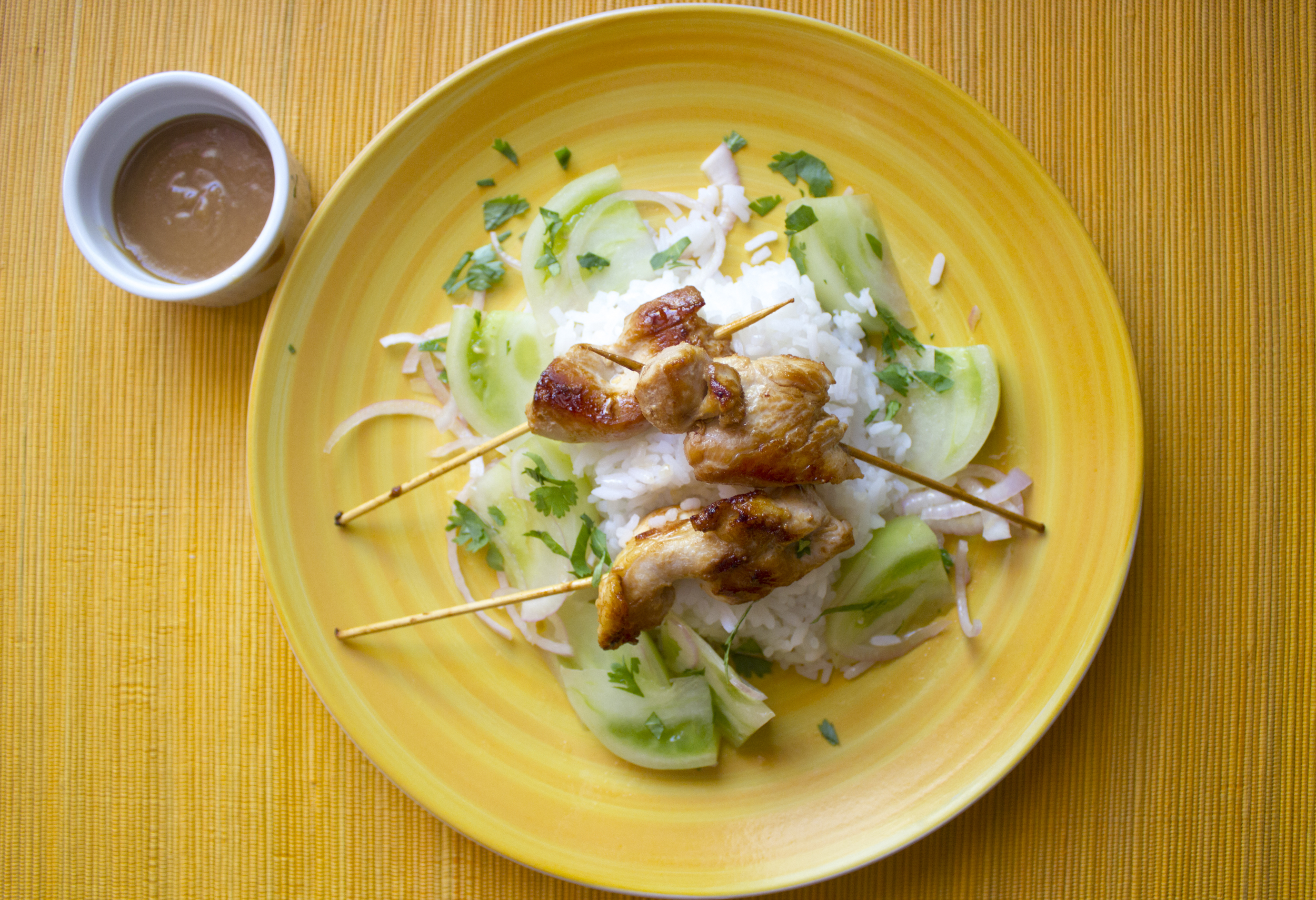 Thai Chicken Satay with Green Tomato Salad