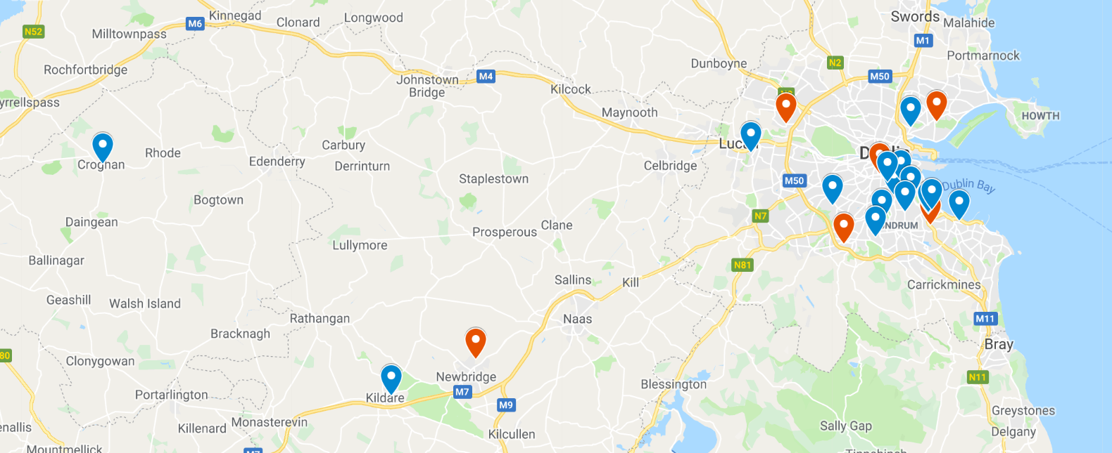 A pin for each Academy of Code venue in autumn 2019. Our forays into Offaly and Kildare skew the picture a little! The red/orange pins above are the public venues, while blue pins indicate private classes for students of only those schools.