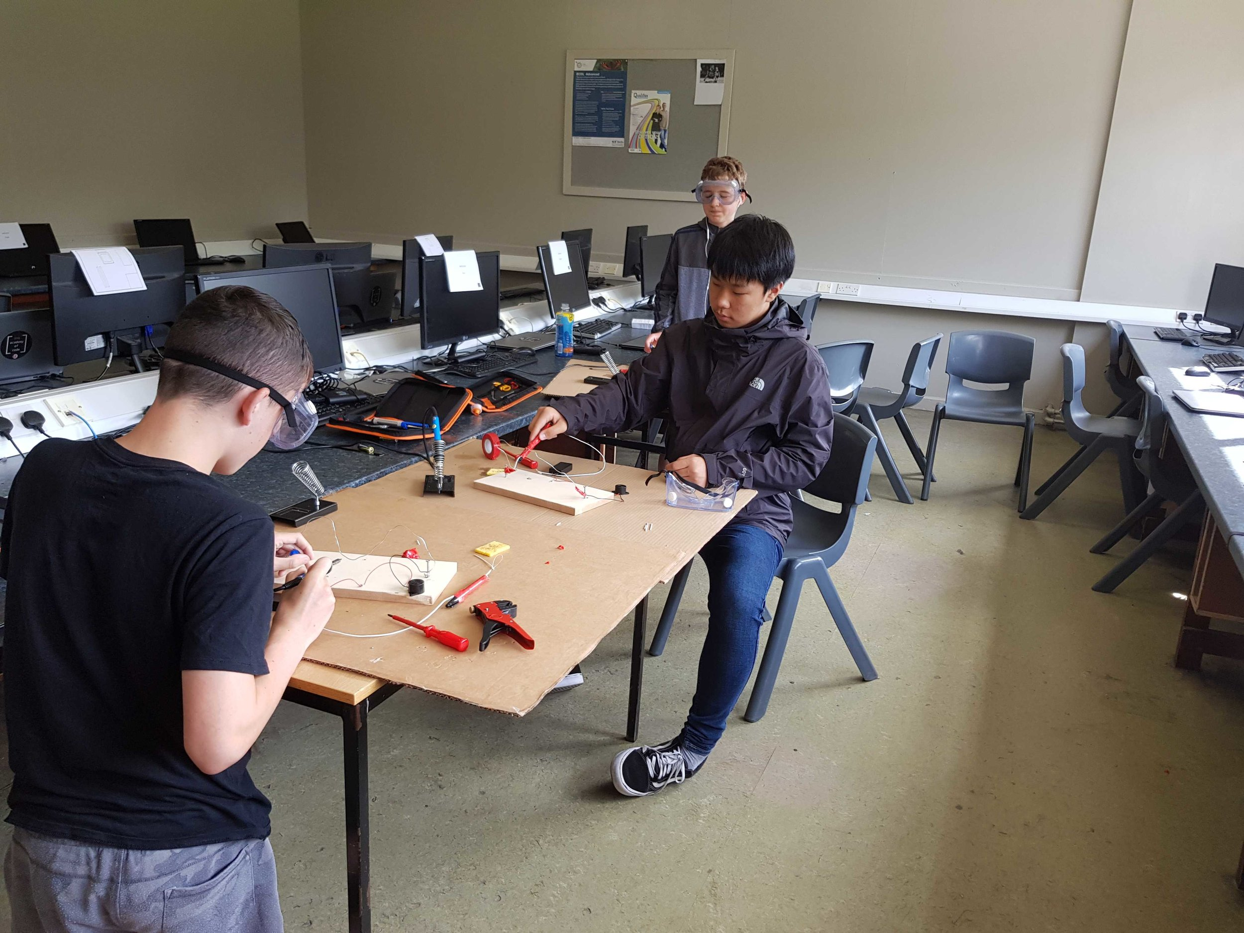Soldering at one of our summer 2019 camps in St. Paul's College, Raheny