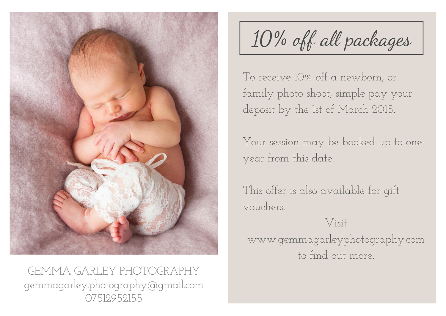 10% off family and newborn photo shoots