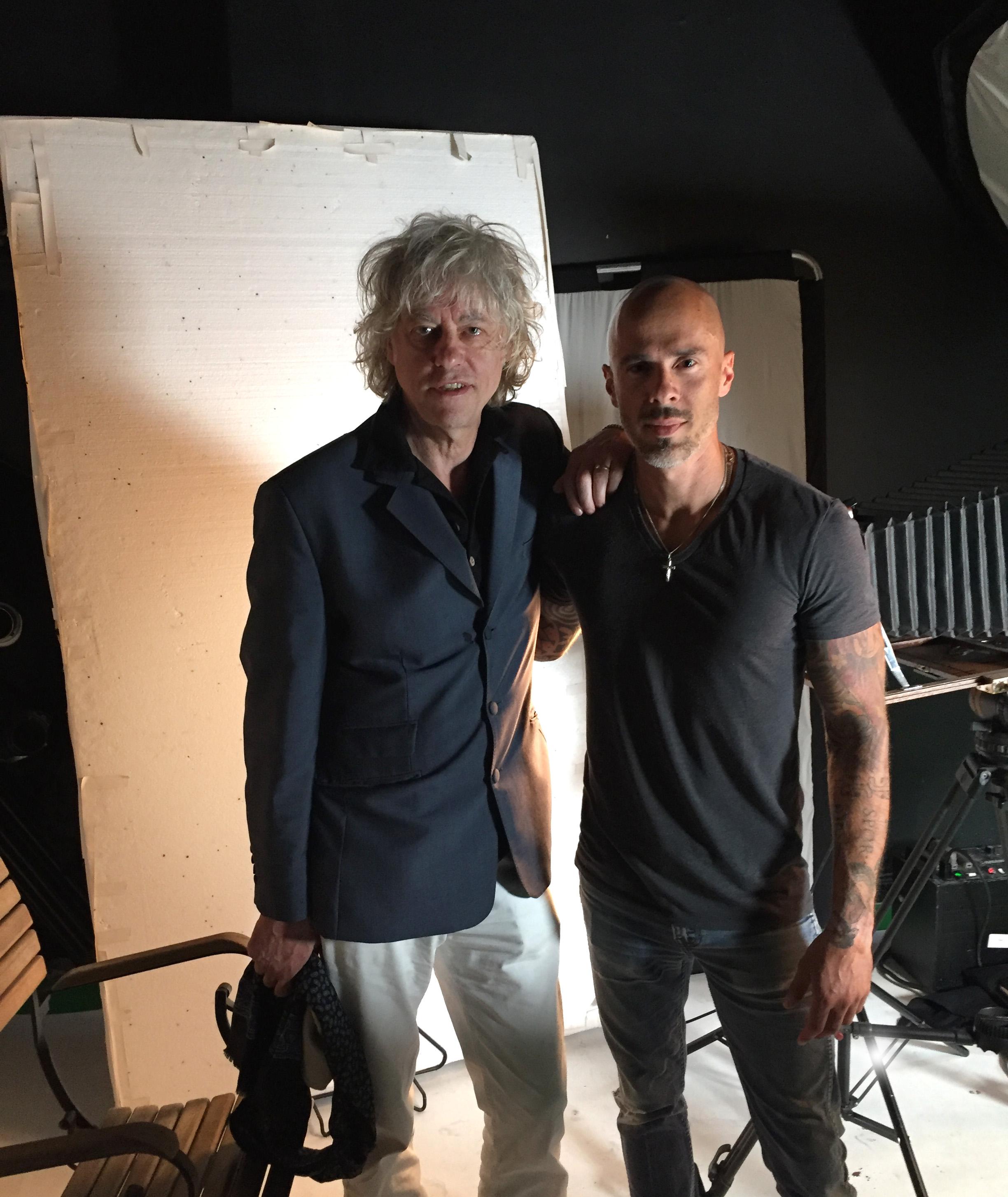 on set with Bob Geldof