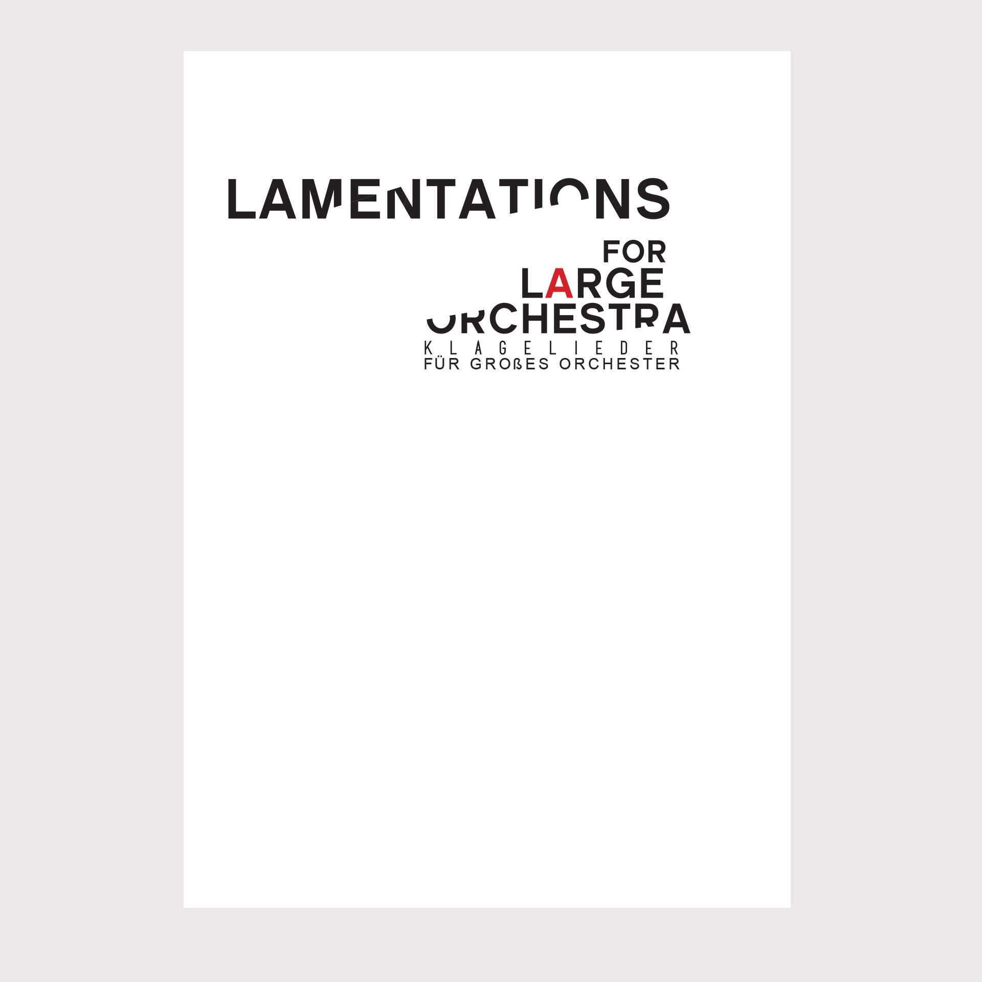 ORCHESTRAL MUSIC BOOK JACKET / 1  Commissioned by Solo Composer.  2013