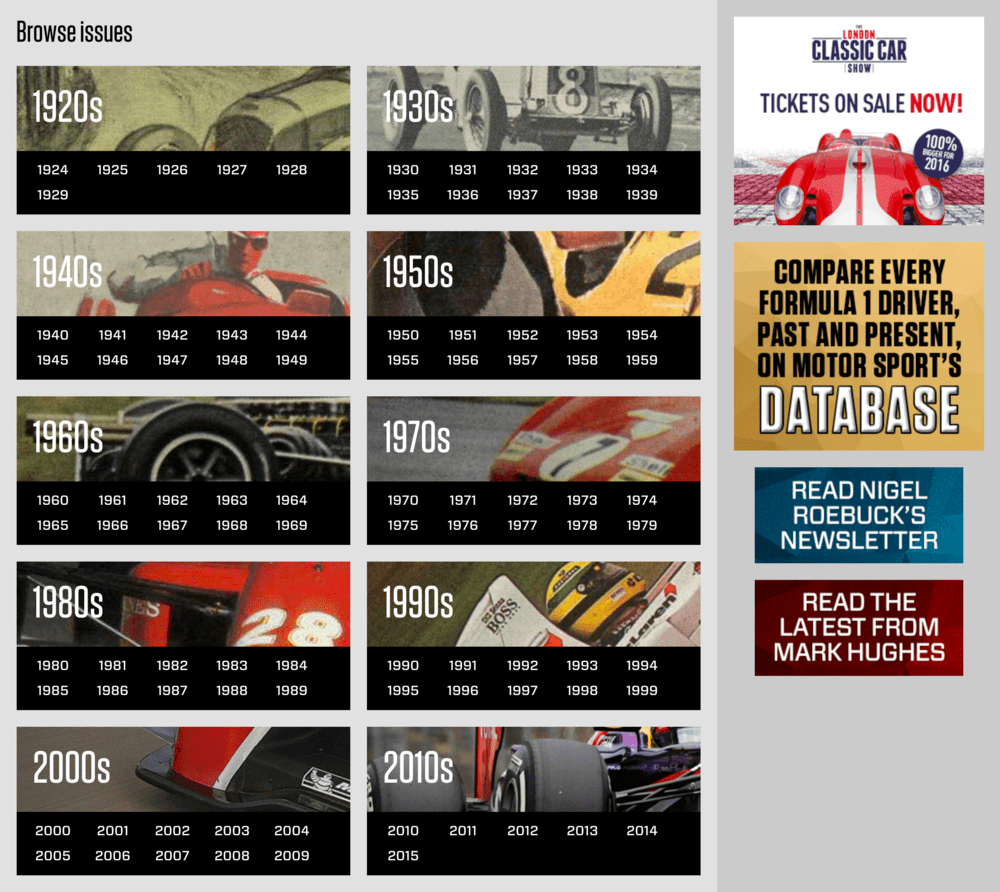 Motor Sport Magazine Archive view by decade