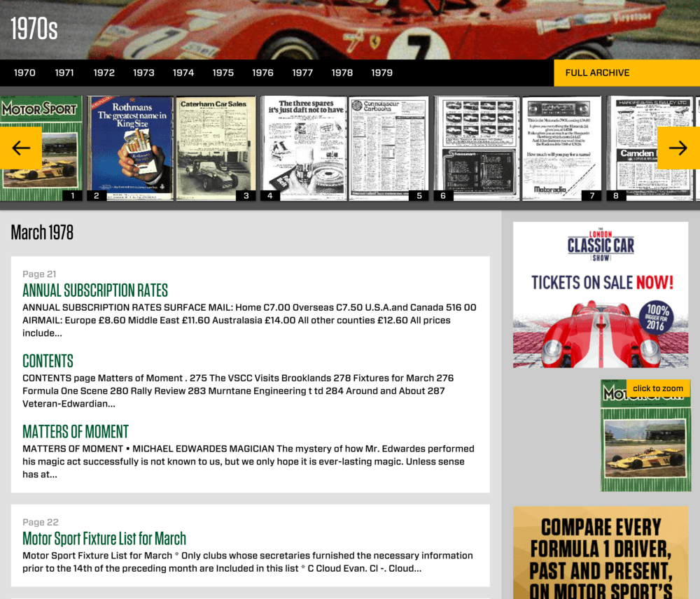 Motor Sport Magazine Archive articles view