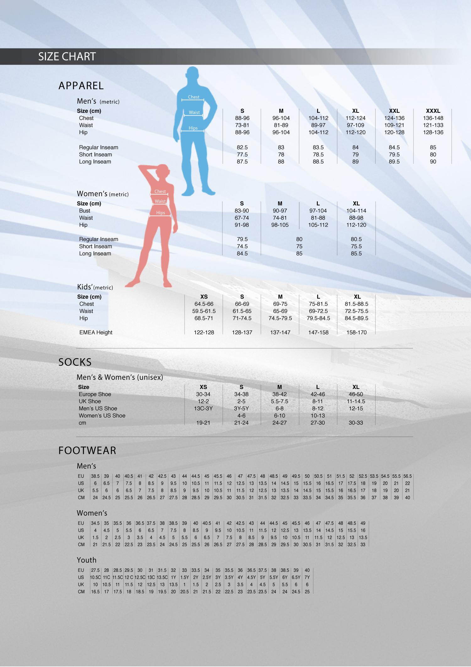 Patriot Sports Nike Size Chart