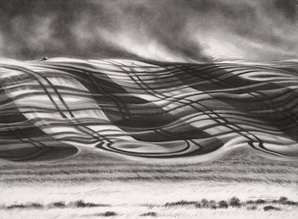 """""""Dust in the Wind II"""" © 2017 Katherine Nelson. Charcoal and pastel on paper. 22x30"""""""