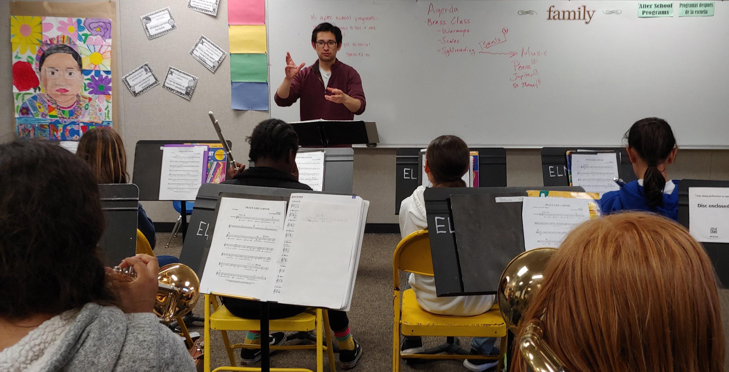 Matt conducting a class at Venetia Valley School, home to ELM's wind and brass program