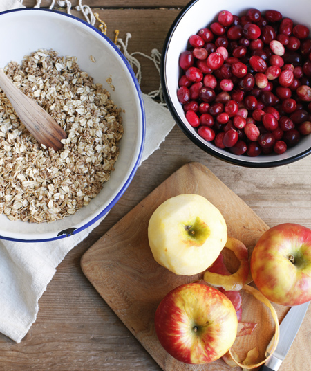 Pear, Apple and Cranberry Crumble Prep