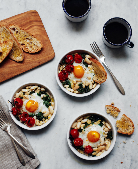 Baked Eggs with White Beans & Roasted Tomatoes