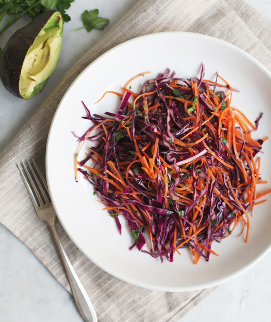 Red Cabbage Slaw with Carrot & Avocado @jewelsofny