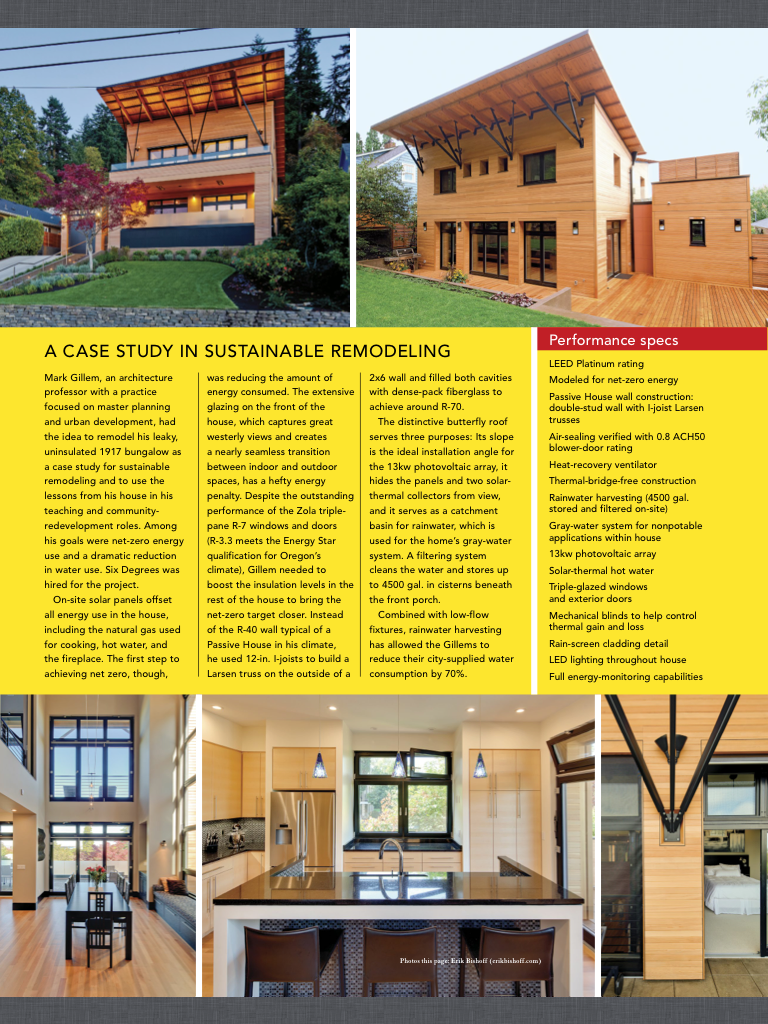 Fine Homebuilding Magazine article featuring photos by Erik Bishoff Photography - February/March 2015 - Issue No. 249 - The Path to Becoming a High-Performance Builder - Mark Gillem, AIA & Six Degrees Construction Inc.