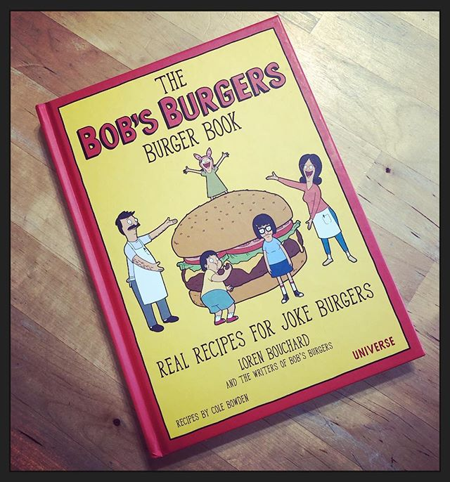"Left in our #littlefreelibrary! What fun! A cookbook of Recipes based on the punny specials from @bobsburgersfox. ""The Cauliflower's Cumin From Inside the House Burger"" is in there. #bobsburgers (I'm keeping this one for myself!)"
