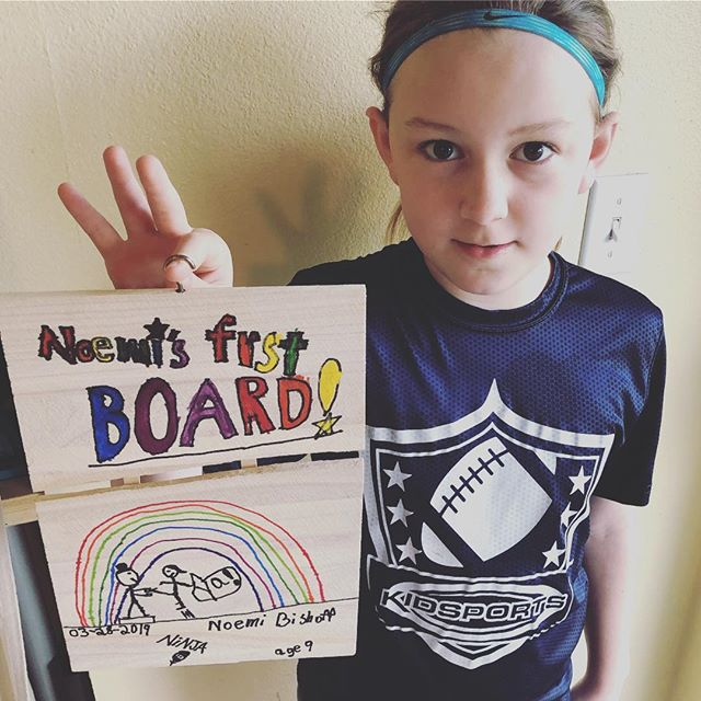 Look who is enjoying @nwninjapark - Noemi & the board she split at camp. She brought it over to Mom & Dad's yesterday and decorated it. (Grandma provided the hook for hanging.) #hiyah #ninja #ninjawarrior #springfieldoregon 🥋