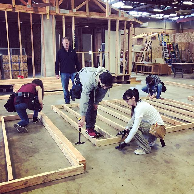 "Lane Community College Hands On Career Day. High School students working with LCC students and staff from the Construction Technology Department tackle some ""real world"" framing."
