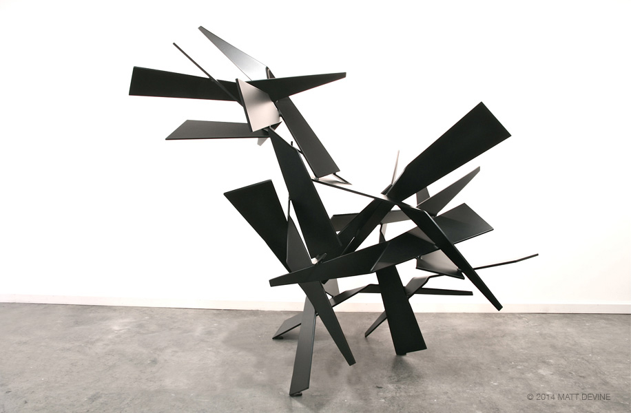 BACK IN BLACK, 2014, aluminum with black powdercoat, 73H x 59W x 74D