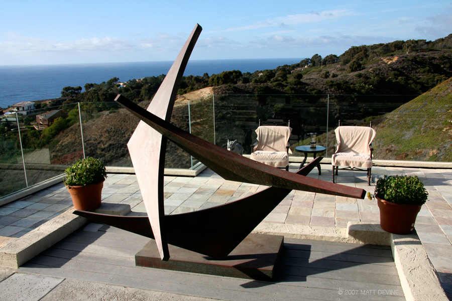 COMING TOGETHER, 2007, Steel with patina, 72H x 82W x 50D, private residence, La Jolla, California