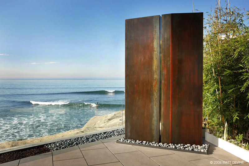PARALLEL DIVIDE, 2008, Steel with rust patina, 120H x 72W x 10D, private residence, San Diego, California