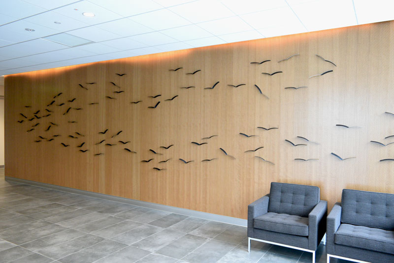 BIRD WALL INSTALLATION, 2016, Steel, Ag Credit Headquarters, Santa Rosa, CA