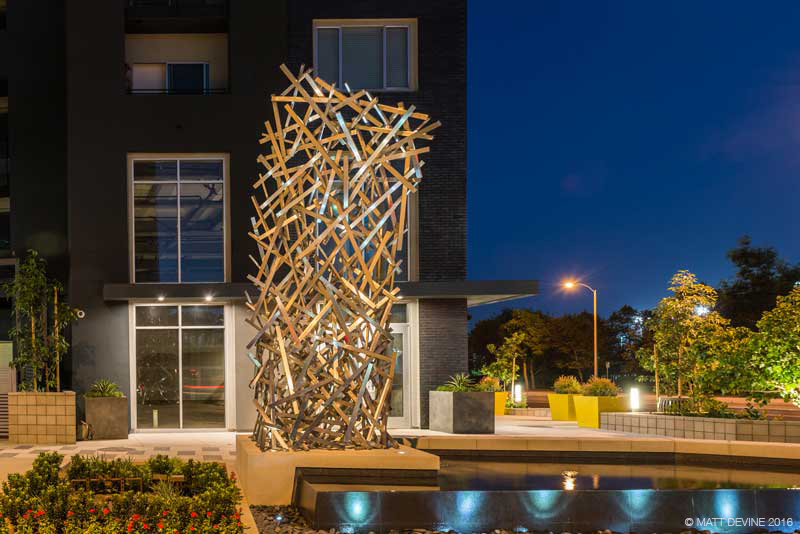 LAS OLAS 2016, NINETEEN 01 Apartment Community, Santa Ana, CA, stainless steel, 14.5'H x 10'W x 5.5'D