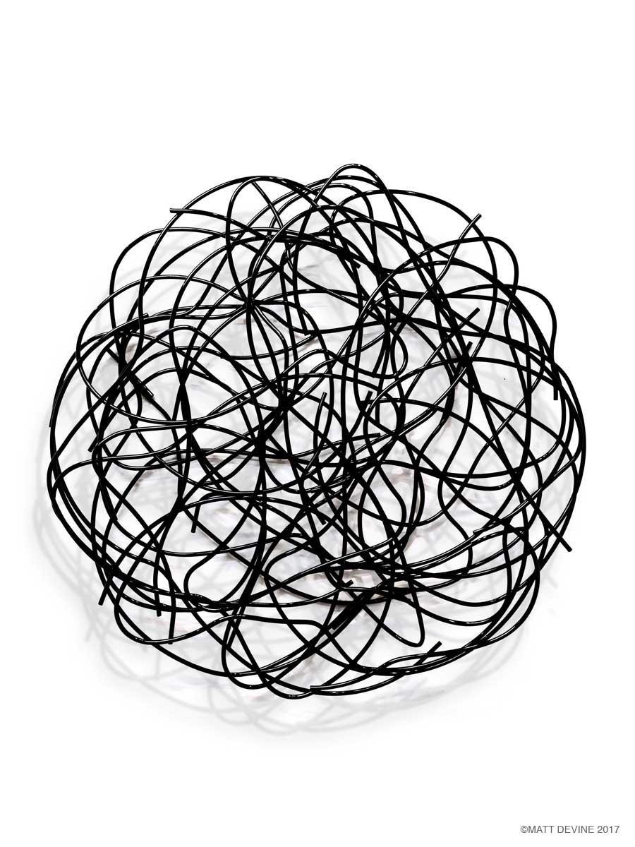 FINE LINE, 2017, steel with black powdercoat, 60H x 60W x 9D