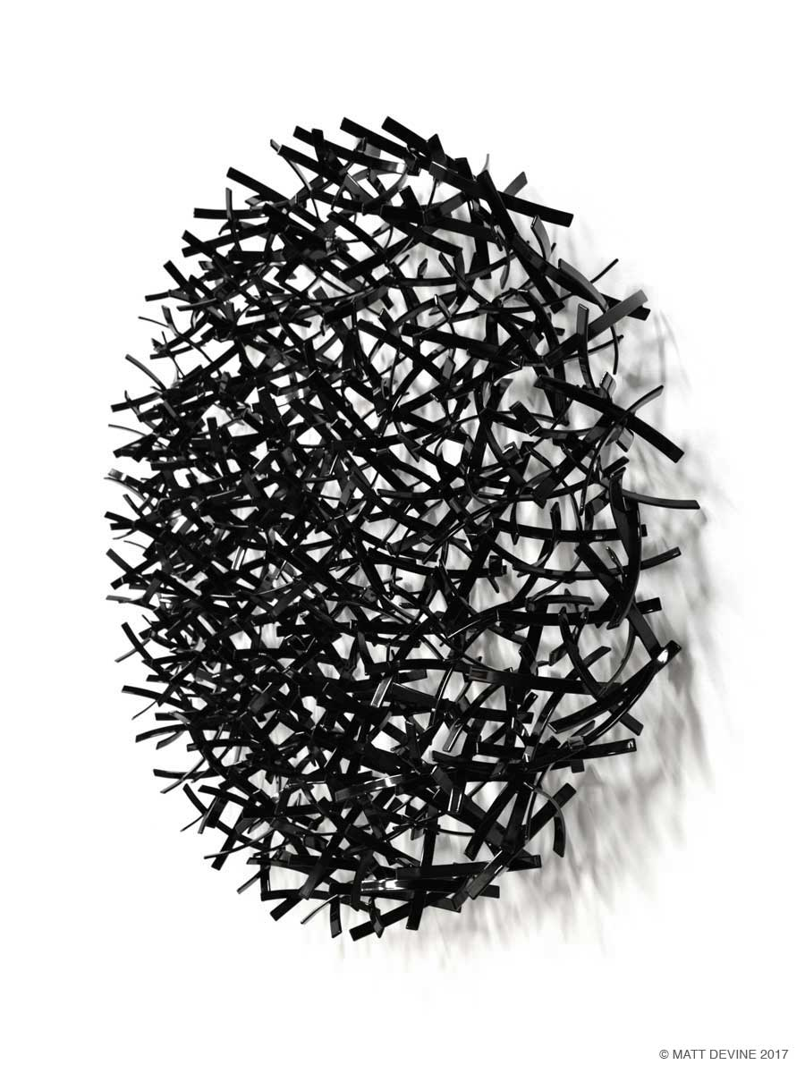 BLACK IS BLACK, 2016, 36H x 36W x 6D, steel with powdercoat