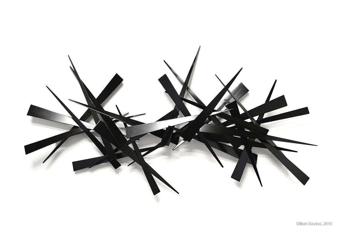 EDWARD #10, 2015, steel with black powder coat, 31H x 59W x 5D in.