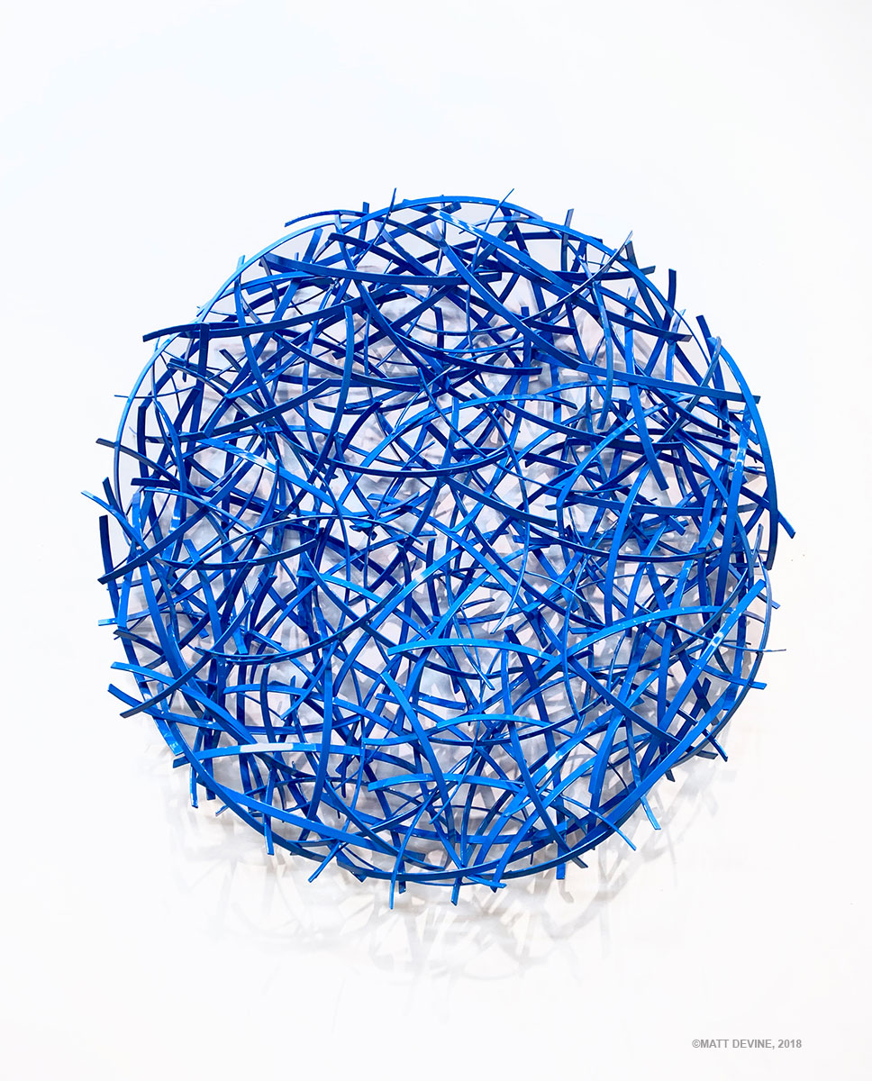 ONE WORLD #6, 2018, STEEL WITH BLUE POWDER COAT, 42H X 42W X 6D IN.