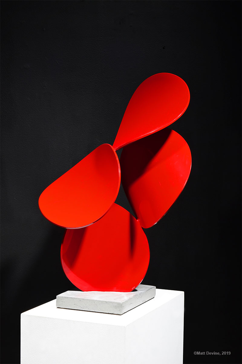 a x b #4, 2019, aluminum with powder coat and concrete base, 30H x 17W x 14D in.