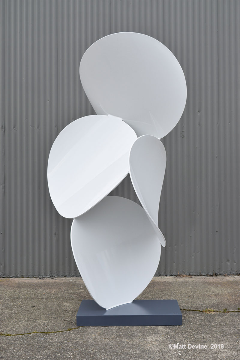 3.14 #4, 2019, aluminum with powder coat and auto paint, 88H x 45W x 35D in.