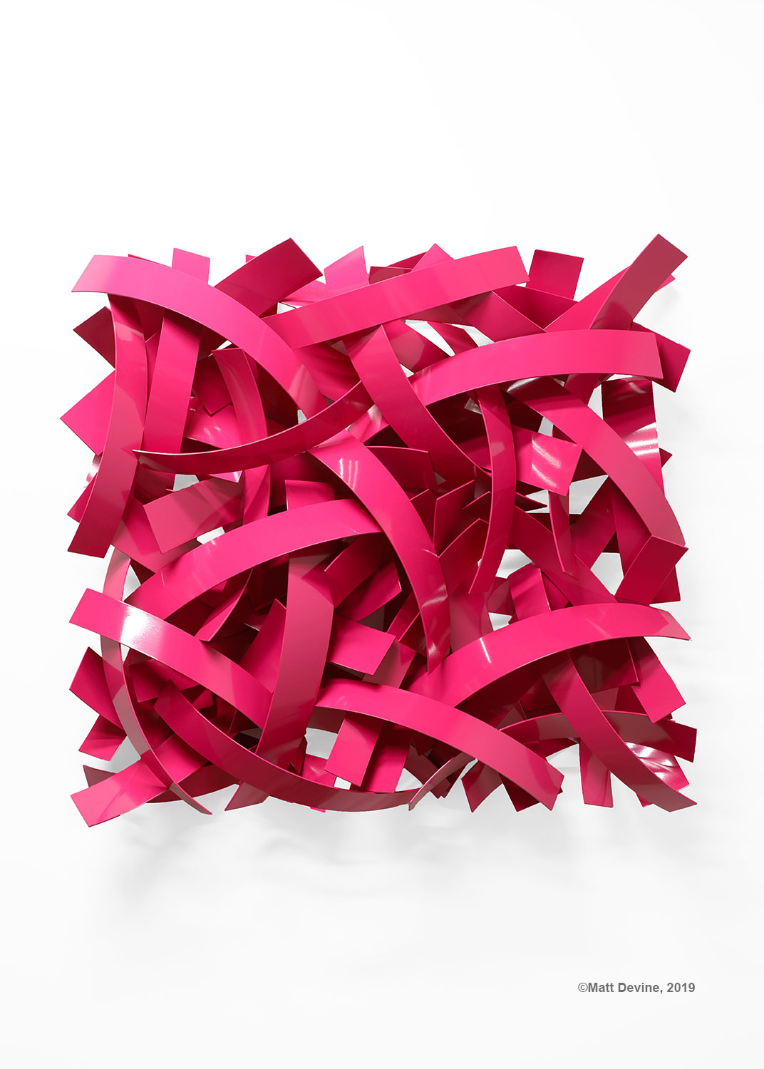 PRETTY IN PINK, 2019 aluminum with powder coat, 44H x 48W x 9D in.