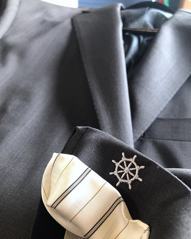 Be creative and personalize your suit beyond just the fit.  Monograms don't have to be in just one spot or even need to be letters. The helm monogrammed under the sleeve in this photo is symbolic of this client's family heritage.  #hudsonsuits #nevercutcorners #customsuits #bespokesuit #tailormade #handmade