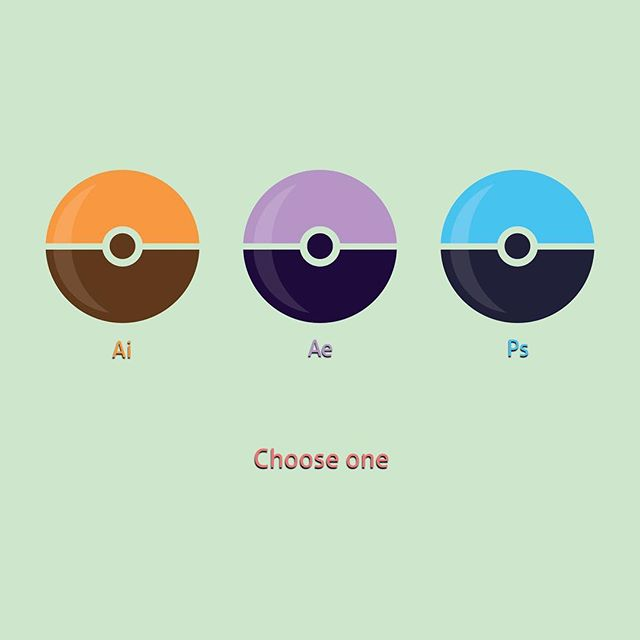 Fun challenge this week. Take three of my favorite Adobe apps, and create a unique visual for them. The designs ask the viewer to pick his or her favorite of the three.  Part Three: Pokeballs  #vectorart #design #flatdesign #art #graphics #colors #adobe #editors #photoshop #illustrator #aftereffects #follow #pokemon