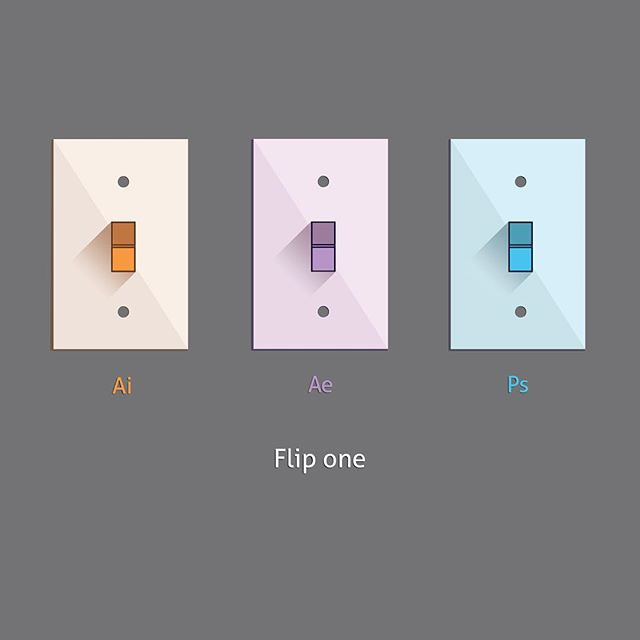 Fun challenge this week. Take three of my favorite Adobe apps, and create a unique visual for them. The designs ask the viewer to pick his or her favorite of the three.  Part Two: Switches  #vectorart #design #flatdesign #art #graphics #colors #adobe #editors #photoshop #illustrator #aftereffects #follow