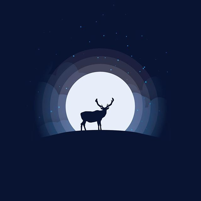 Elk at Night  This week we have circular moon designs, inspired by @madebymarko. A calming view of the night sky in three different color schemes. Enjoy.  #elk #fullmoon #moon #design #vector #art #flat #illustration #illustrator #adobe #vectorart