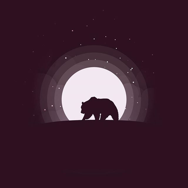 Bear at Night  This week we have circular moon designs, inspired by @madebymarko. A calming view of the night sky in three different color schemes. Enjoy.  #bear #fullmoon #moon #design #vector #art #flat #illustration #illustrator #adobe #vectorart