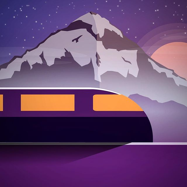 Train in the Mountains at Night  One of two still graphics from an upcoming animation.  #design #vector #vectorart #animation #mountain #snow #brand #creative #designers #color