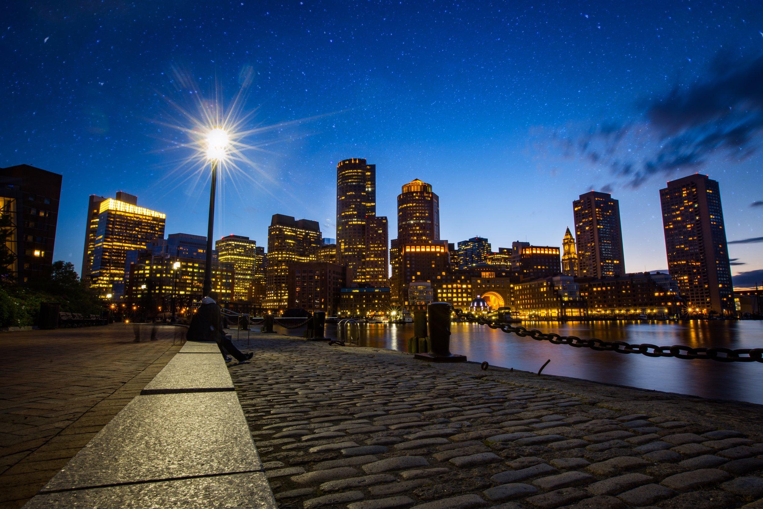 Boston Skyline Over Harbor