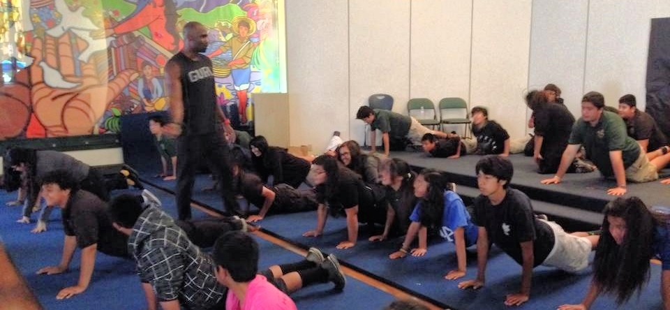 Keith teaching yoga at LA Leadership Academy