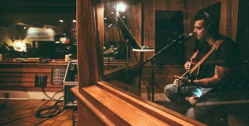 Zaib Khan  recording at   Cove City Sound Studios  , in Glen Cove, NY.
