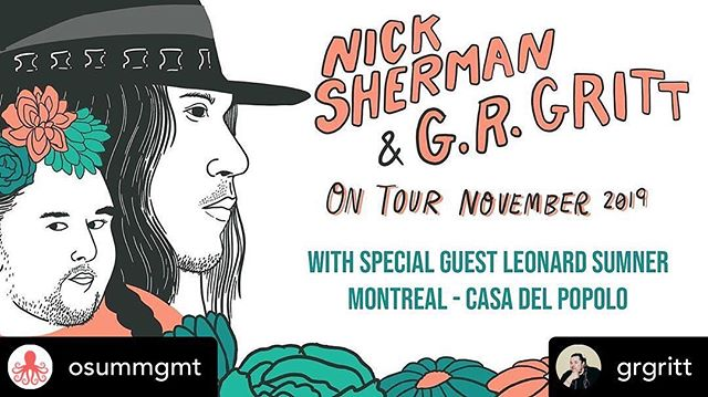 We've been sitting on this surprise for a bit and we're excited to announce that @leonardsumner is jumping on the Montreal show! You can get tickets for this and every other show at www.nicksherman.ca  Posted @withrepost • @osummgmt You don't want to miss this!  Posted @withrepost • @grgritt // special guest announcement// @nickshermanmusic and I are thrilled to share that our special guest for this Friday's show at @casadelpopolo is the incredible @leonardsumner!  Get your tickets friends! Nick Sherman + G.R. Gritt at Casa del Popolo 🔗 in bio. . . . . . . . . . #mtl #mtlmusic #mtlmusicscene #musicmontreal #musique #francophone #queer #indigene #musiqueindigene #autochtones