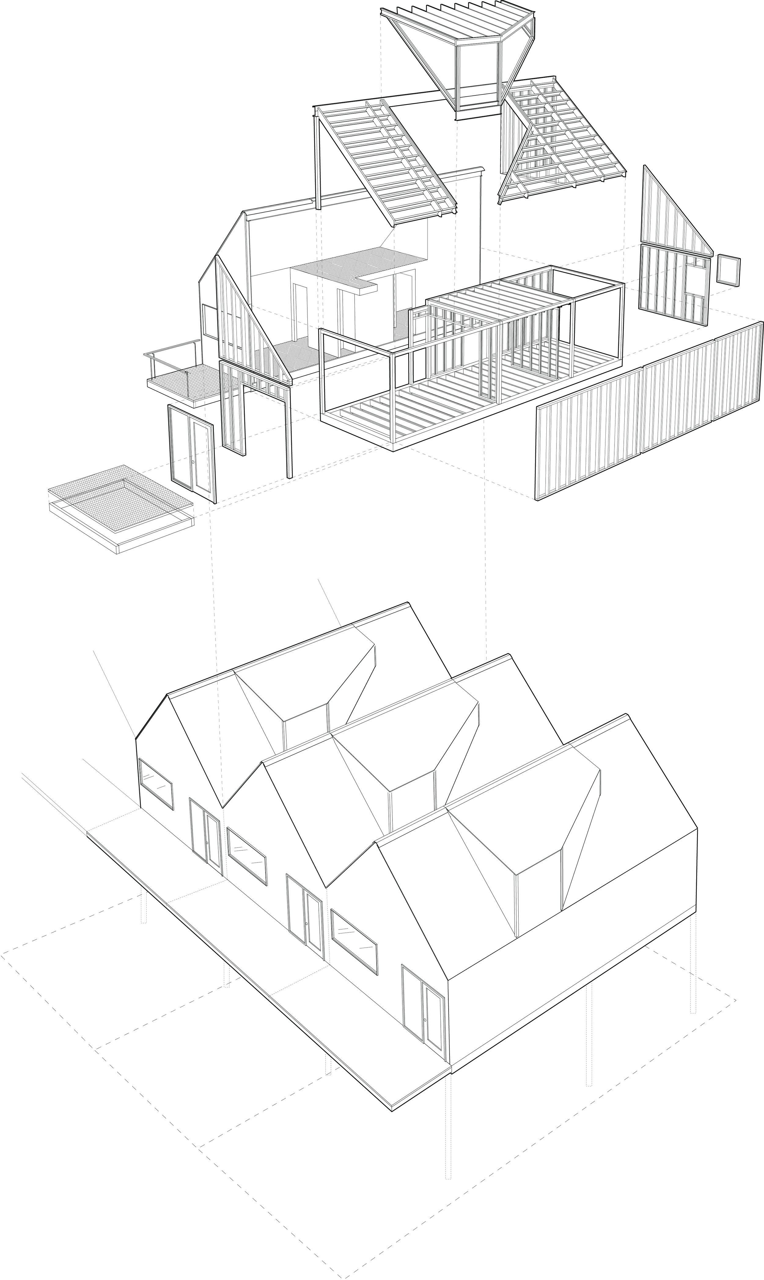 Each home consists of two, 10' wide by 35' long prefabricated modules and a dormer.
